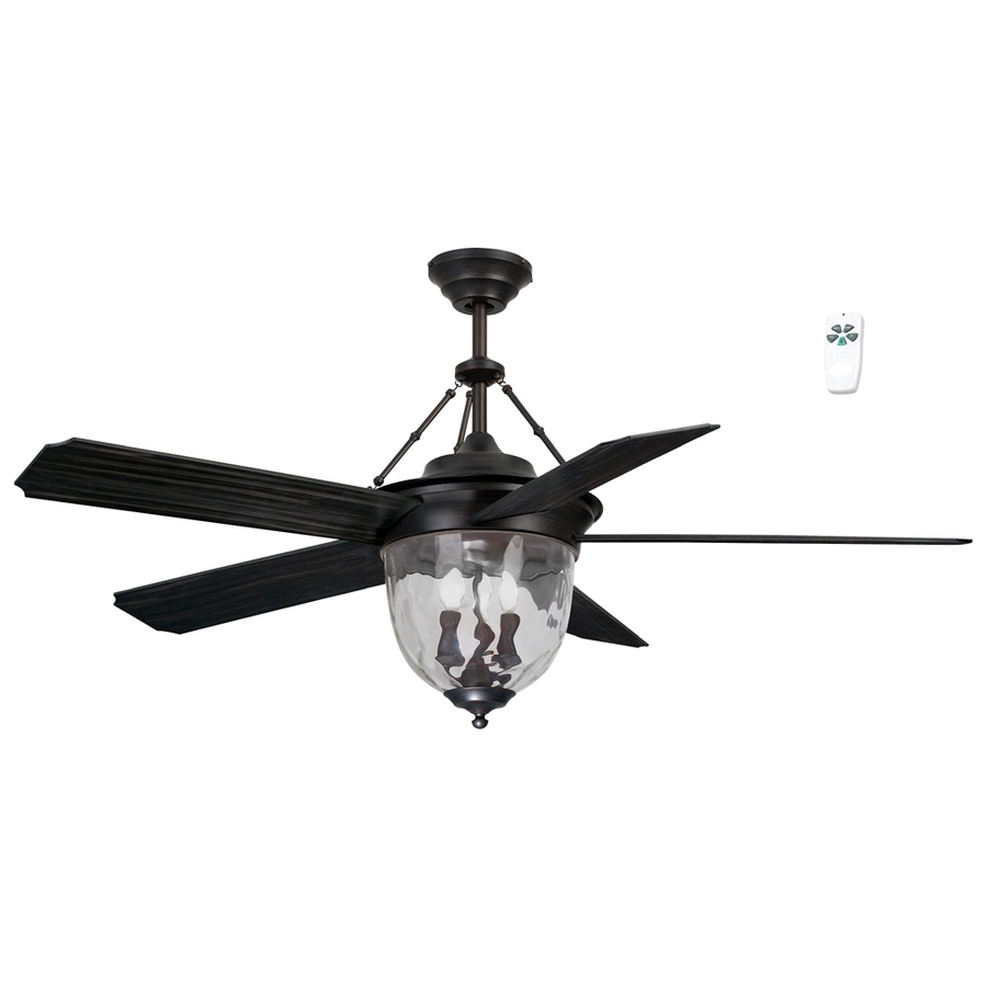 Shop Litex 52 In Antique Bronze Indoor/outdoor Downrod Mount Ceiling Inside 2019 Outdoor Ceiling Fans With Lights And Remote (View 17 of 20)
