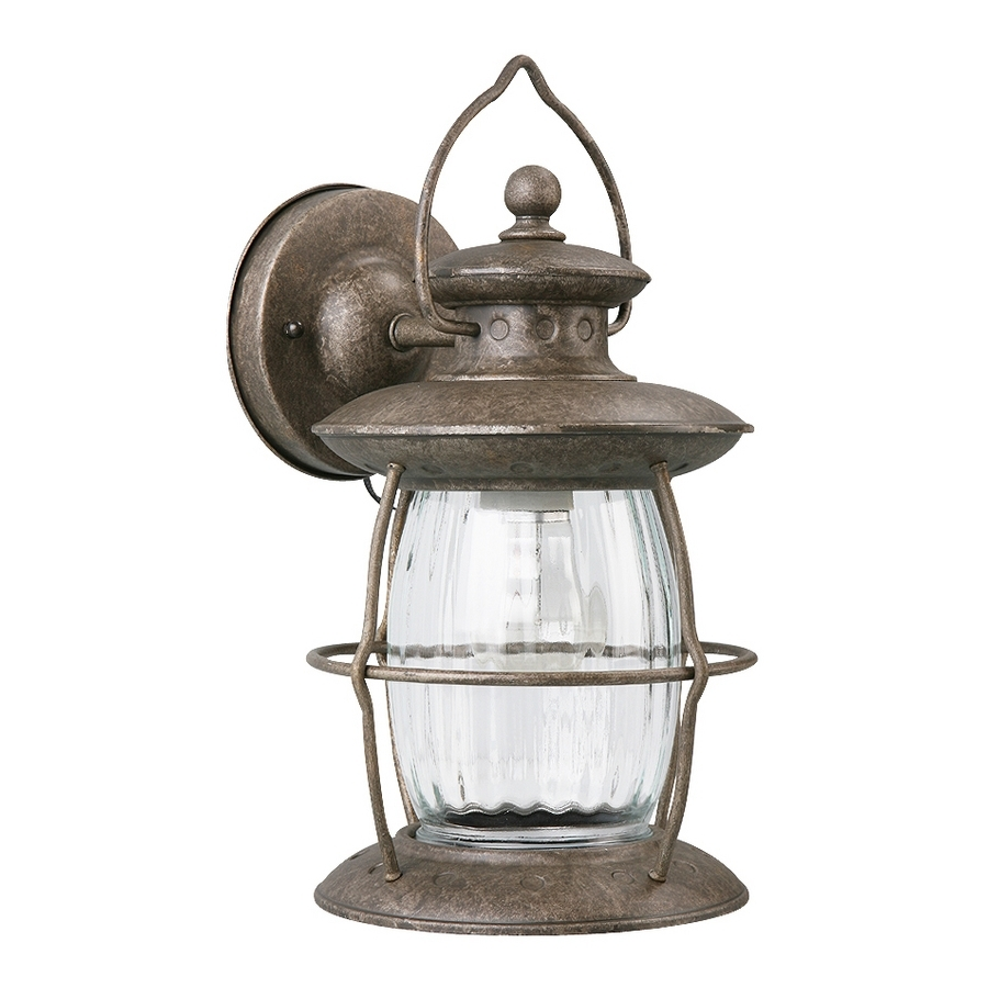 Shop Portfolio 12 5/8 In Antique Pewter Outdoor Wall Light At Lowes Pertaining To Most Recently Released Pewter Outdoor Wall Lights (View 14 of 20)