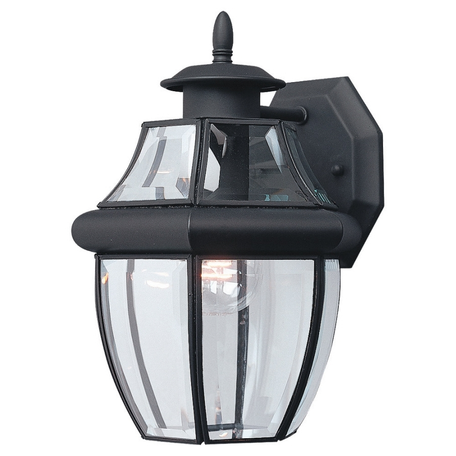 Shop Sea Gull Lighting 12 In H Black Outdoor Wall Light At Lowes Inside Famous Outdoor Wall Light Fixtures At Lowes (View 14 of 20)