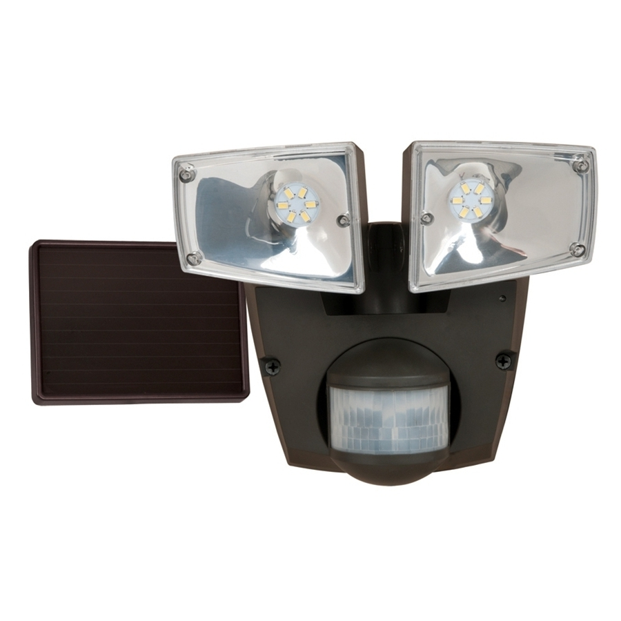 Shop Utilitech Pro 180 Degree 2 Head Black Solar Powered Integrated Throughout Trendy Lowes Solar Garden Lights Fixtures (View 11 of 20)