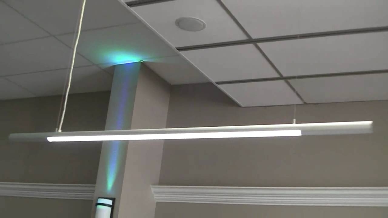 Slim Led Hanging Pendant Lights For Office Or Garage Video In Most Recent Outdoor Hanging Bar Lights (View 17 of 20)