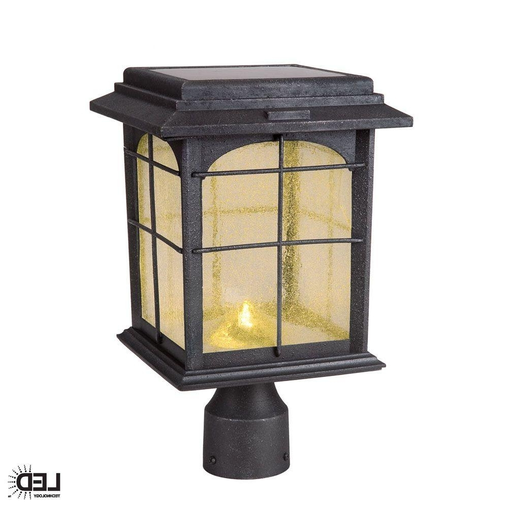 Solar Driveway Lights At Home Depot In Most Current Hampton Bay Solar Outdoor Hand Painted Sanded Iron Post Lantern With (View 12 of 20)