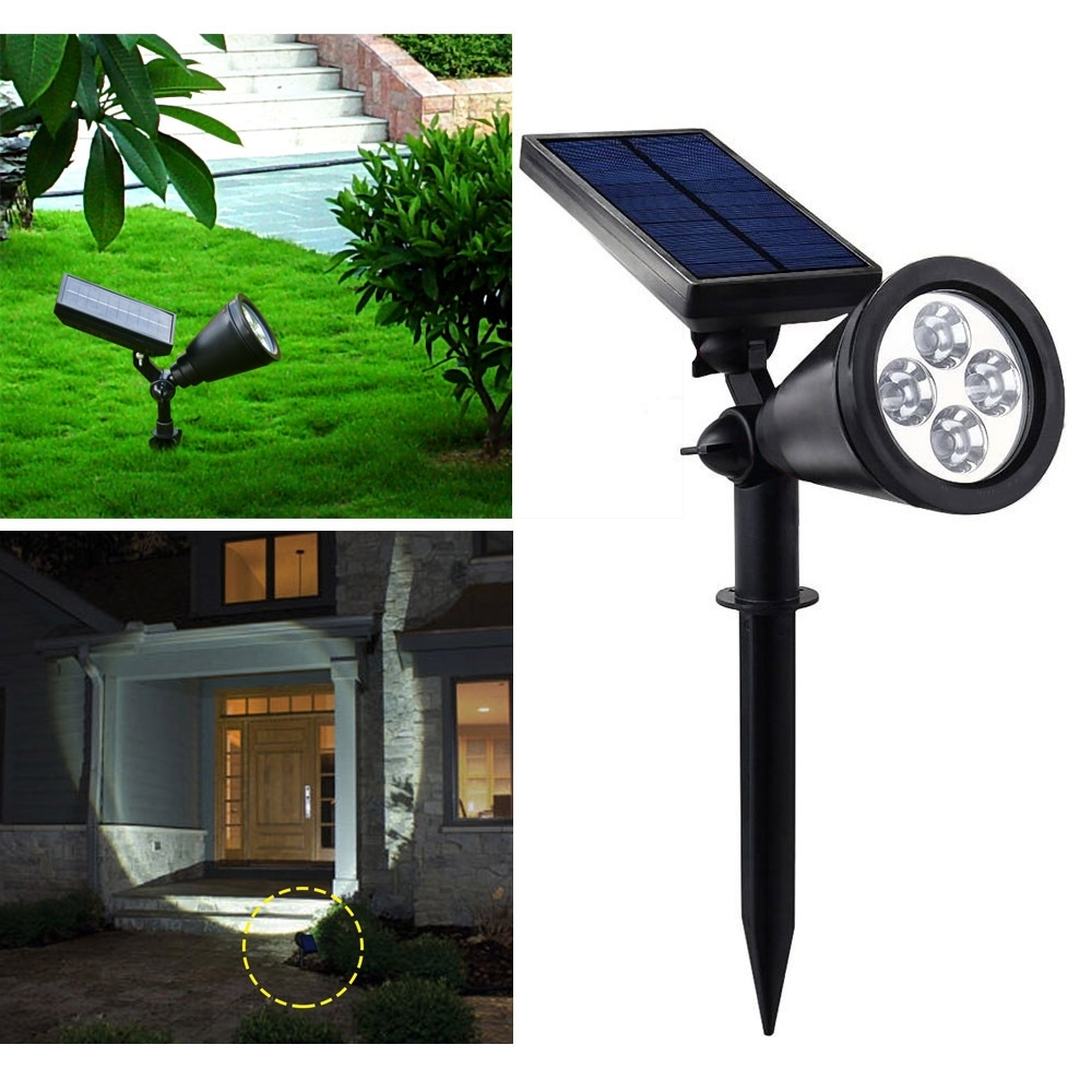 Solar Outdoor Lighting With Current Ip44 4Leds Solar Spot Light 6000~7000K 200Lm Lawn Lamp Super Bright (View 18 of 20)