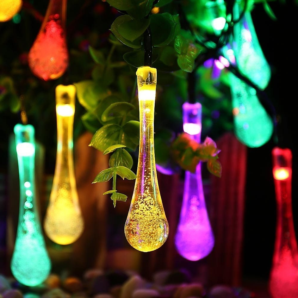 Solar Outdoor String Lights,20 Led Icicle Globe,patio Light For Pertaining To Newest Garden And Outdoor String Lights (View 13 of 20)