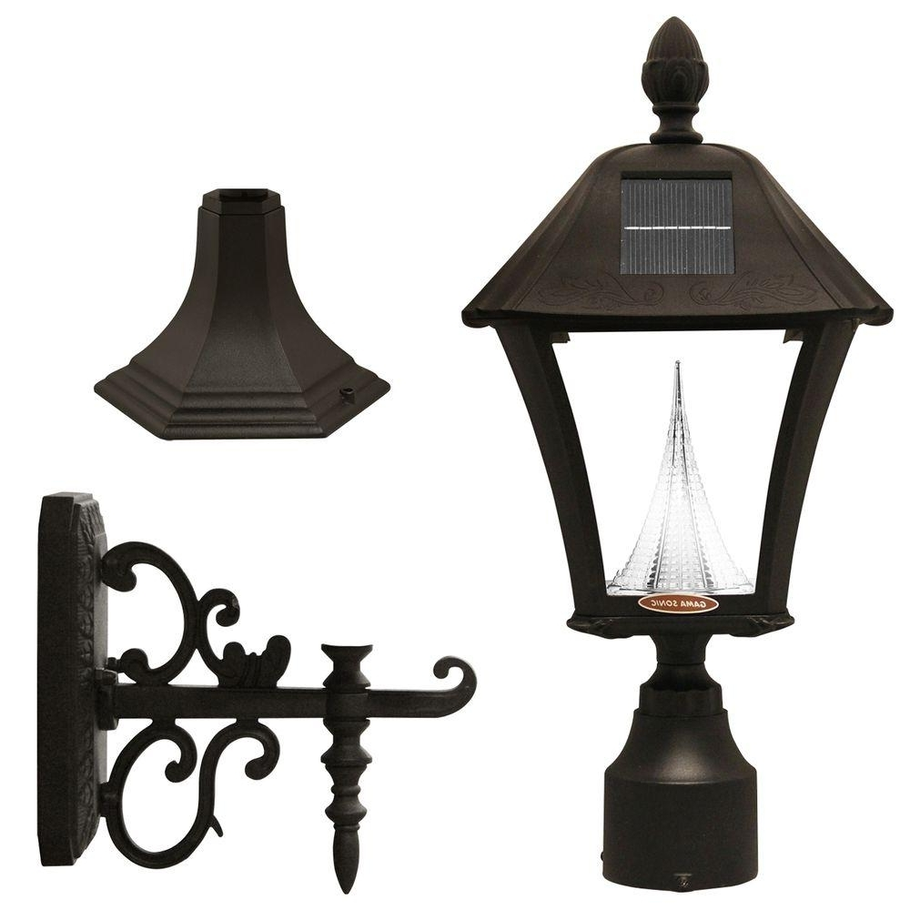 Solar Outdoor Wall Light Fixtures With Trendy Gama Sonic Baytown Solar Black Outdoor Post/wall Light With Bright (View 13 of 20)