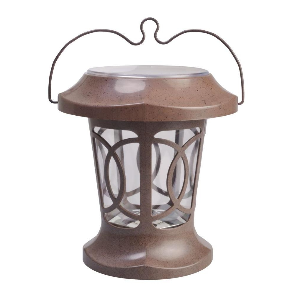 Solar Powered Outdoor Hanging Lanterns For Latest Moonrays Bradbury Brown Solar Powered Outdoor Hanging Light (View 11 of 20)