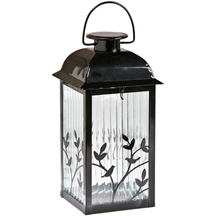 Solar Powered Outdoor Hanging Lanterns Throughout Popular Diy : Shop Gemmy Black Glass Solar Outdoor Decorative Lantern Lights (View 15 of 20)