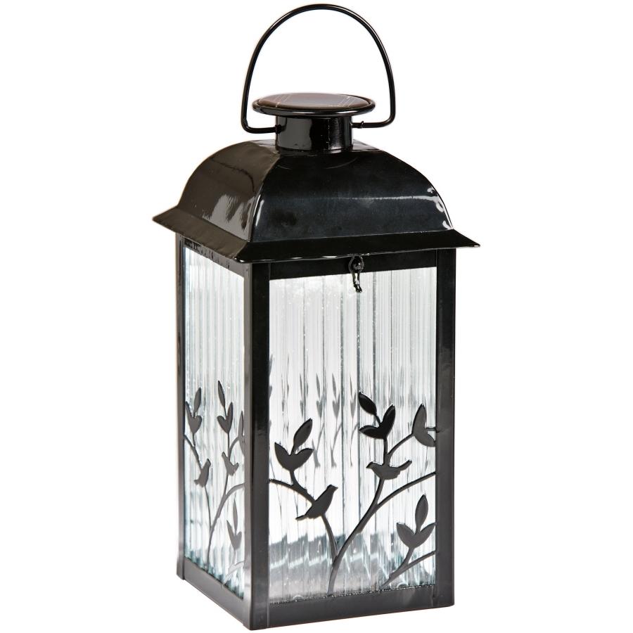 Solar Powered Outdoor Hanging Lanterns Throughout Popular Diy : Shop Gemmy Black Glass Solar Outdoor Decorative Lantern Lights (View 15 of 20)