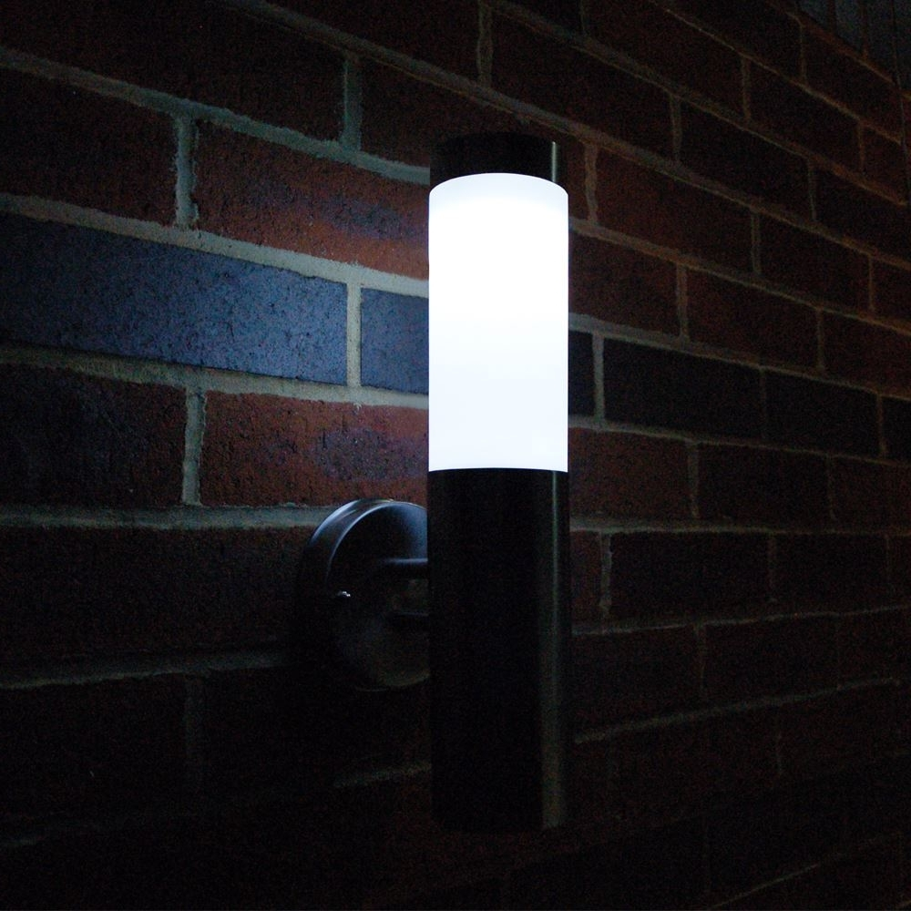 Solar Powered Outdoor Wall Lights Within Trendy Stainless Steel Outdoor Solar Powered Led Wall Mounted Lighting (View 12 of 20)
