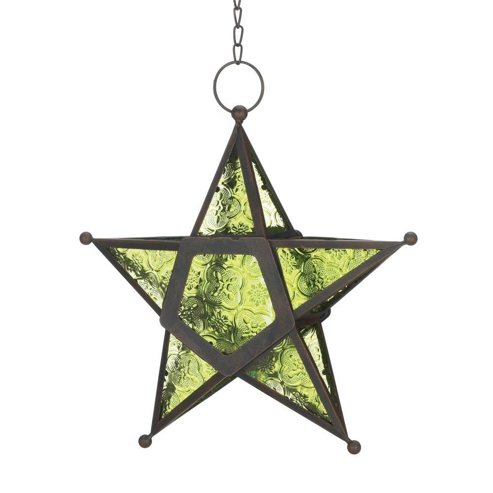 Star Lantern Light, Green Large Modern Iron Glass Lanterns Within Fashionable Outdoor Hanging Star Lanterns (View 15 of 20)