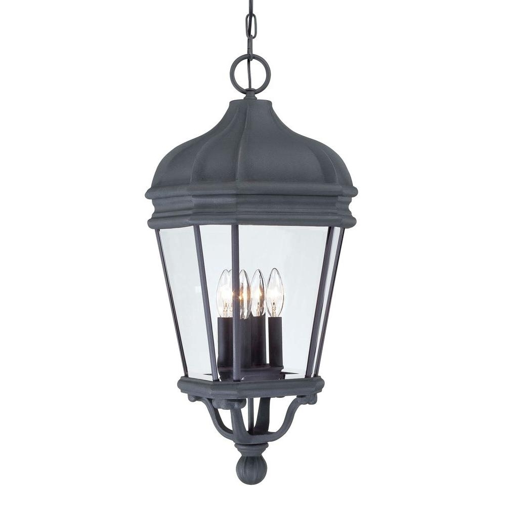 The Great Outdoorsminka Lavery Harrison Black 4 Light Hanging For Recent Indoor Outdoor Hanging Lights (View 15 of 20)