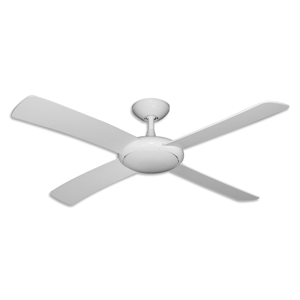 "Trendy Outdoor Ceiling Fans Without Lights Throughout Gulf Coast Luna Fan – 52"" Modern Outdoor Ceiling Fan – Pure White Finish (View 11 of 20)"
