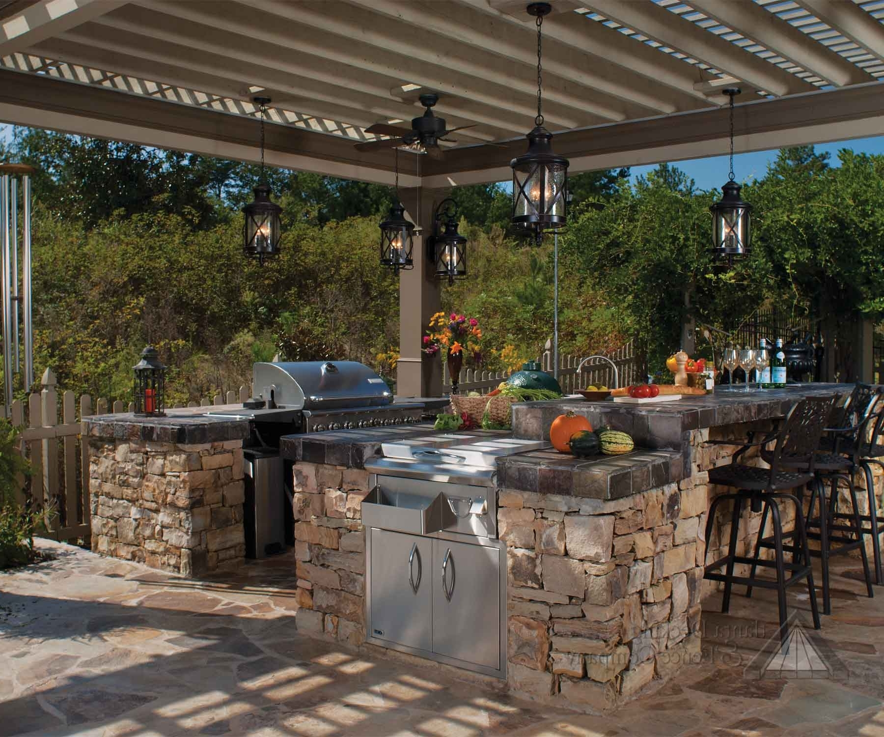 Trendy Outdoor Hanging Lights For Pergola With Lantern Shaped Hanging Outdoor Pendant Lights In An Outdoor Kitchen (View 12 of 20)