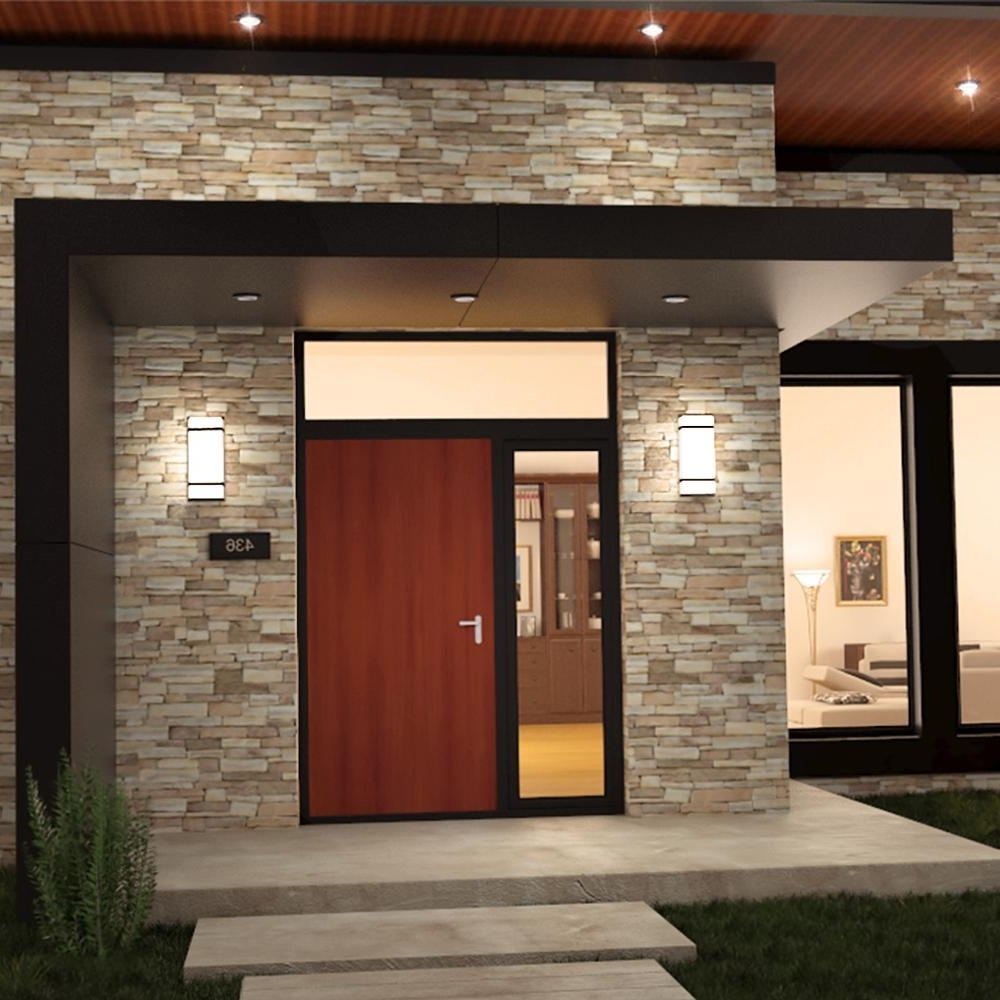 Trendy Outdoor Home Wall Lighting With Regard To Outdoor Garage : Garden Wall Lights Led Patio Lights Volt Landscape (View 16 of 20)