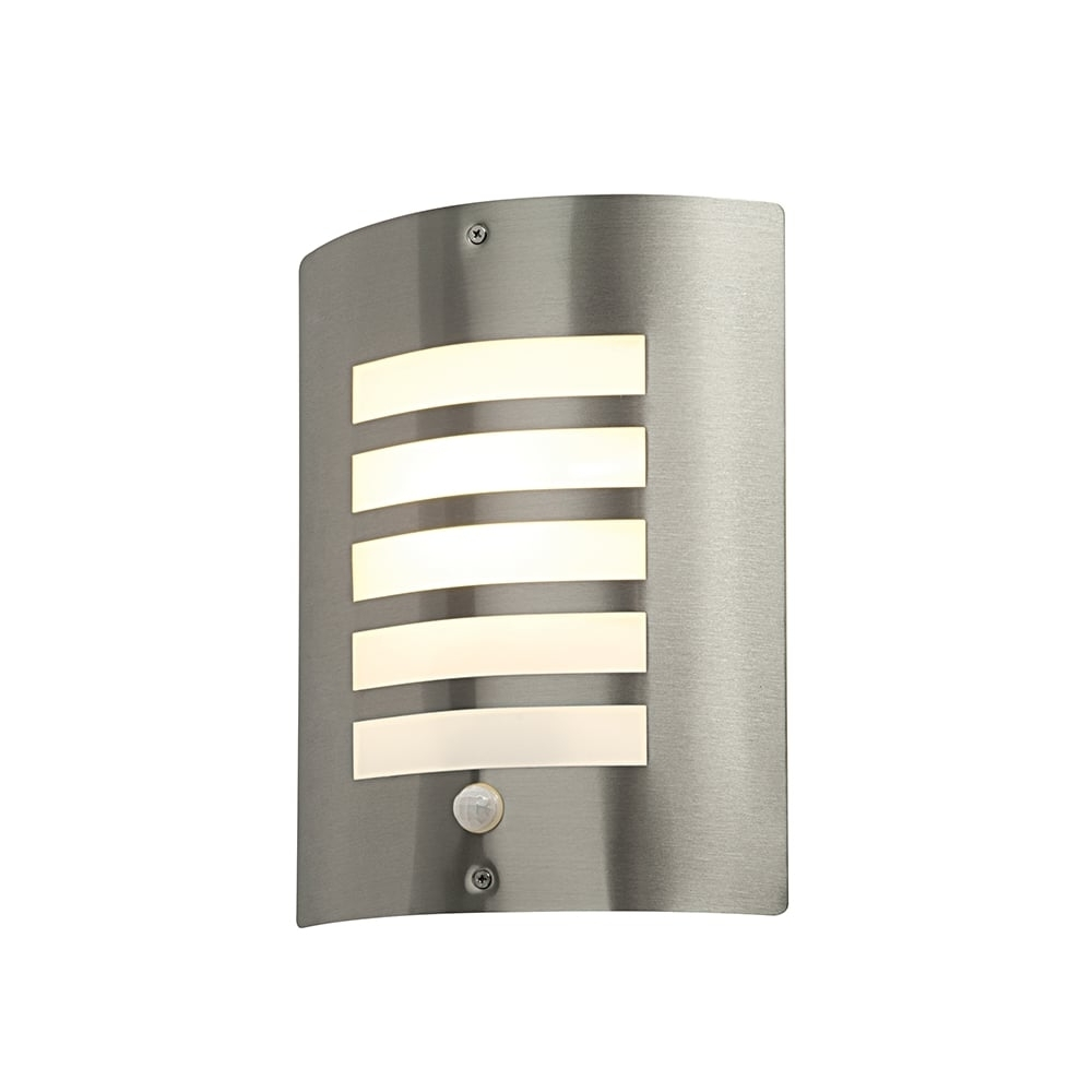 Trendy Outdoor Pir Wall Lights For Saxby St031fpir Bianco Stainless Steel Modern Outdoor Pir Wall Light (View 2 of 20)