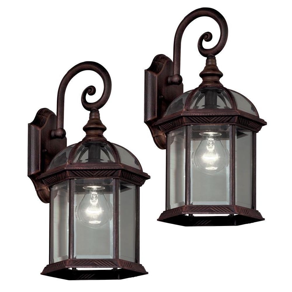 Trendy Outdoor Wall Mount Lighting Fixtures In Hampton Bay Twin Pack 1 Light Weathered Bronze Outdoor Lantern  (View 19 of 20)