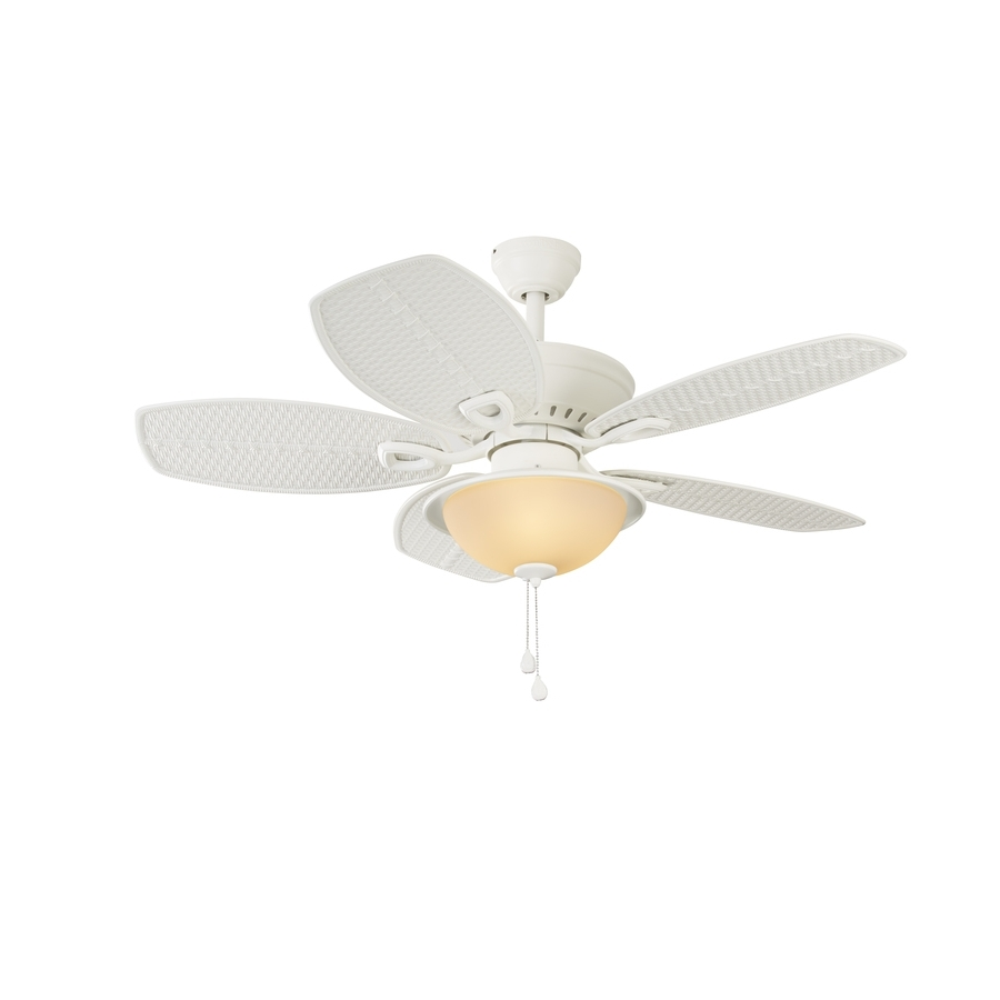 Trendy Shop Harbor Breeze Cedar Shoals 44 In White Indoor/outdoor Downrod Regarding Outdoor Ceiling Fans Lights At Lowes (View 14 of 20)