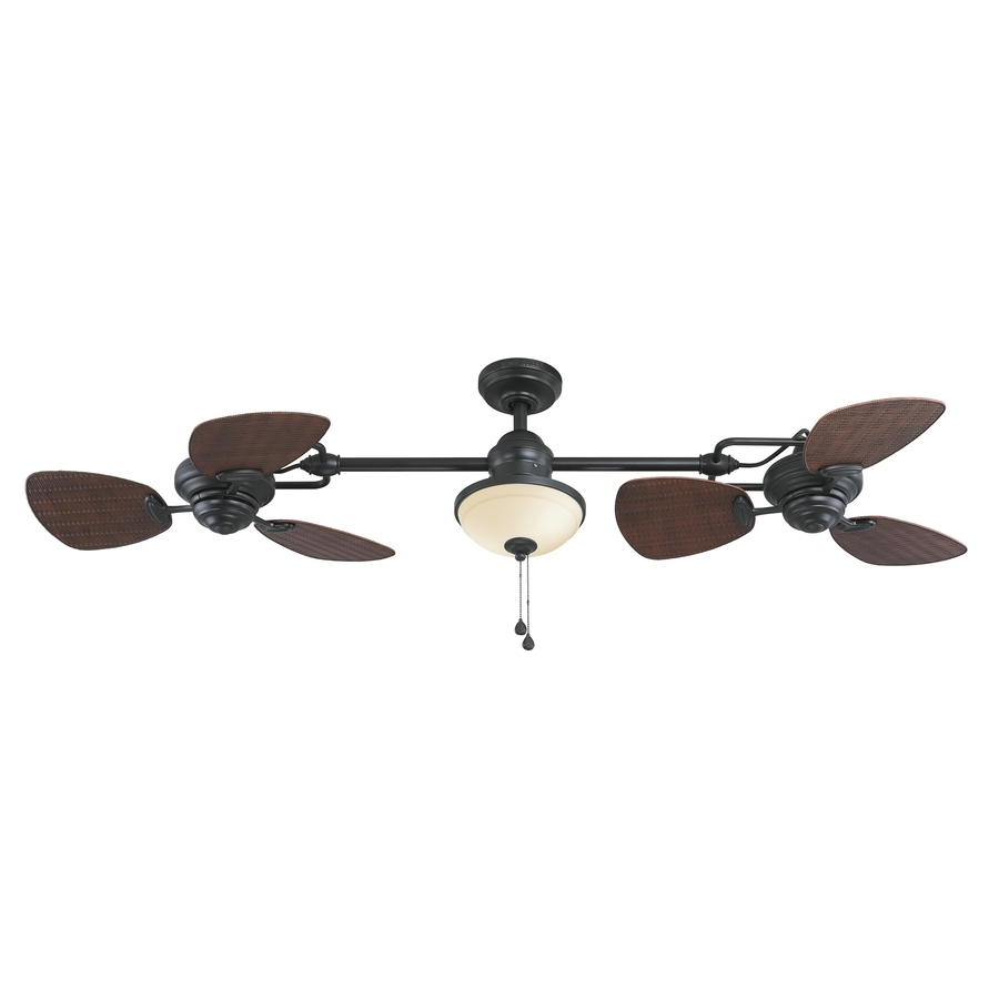 Trendy Shop Harbor Breeze Twin Breeze Ii 74 In Oil Rubbed Bronze Indoor With Regard To Indoor Outdoor Ceiling Fans Lights (View 17 of 20)