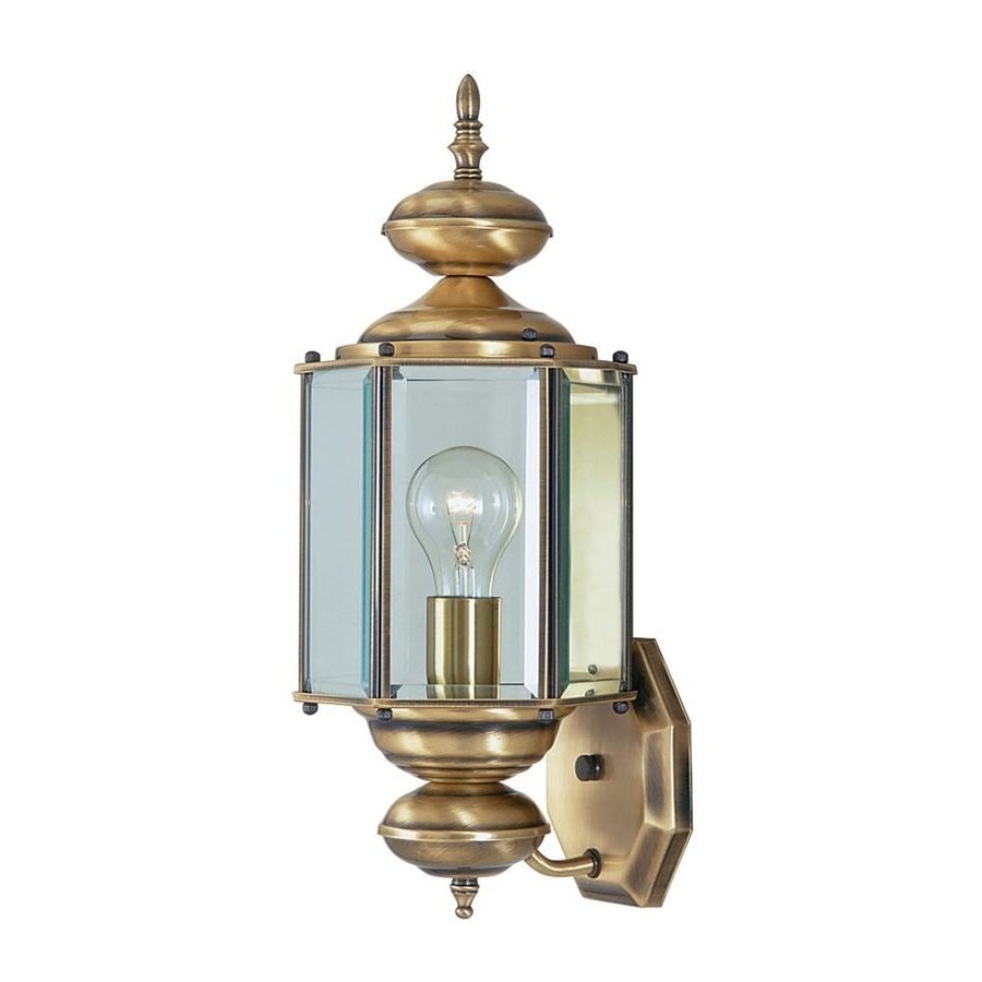Trendy Shop Livex Lighting Outdoor Basics 17 In H Antique Brass Medium Base Intended For Antique Brass Outdoor Lighting (View 20 of 20)