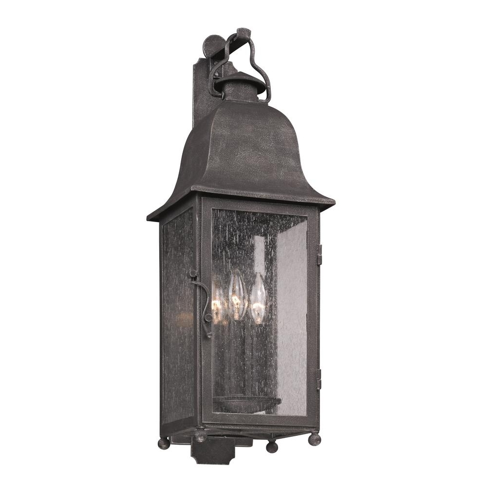 Troy Lighting Larchmont 3 Light Aged Pewter Outdoor Wall Mount In Widely Used Pewter Outdoor Wall Lights (View 17 of 20)
