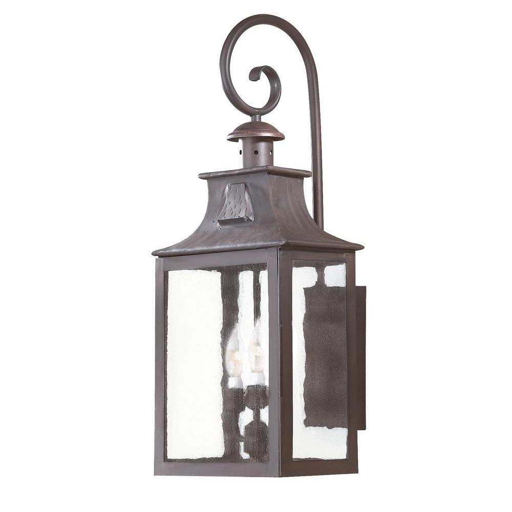 Troy Lighting Newton 3 Light Old Bronze Outdoor Wall Mount Lantern Intended For Famous Troy Lighting Outdoor Wall Sconces (View 13 of 20)