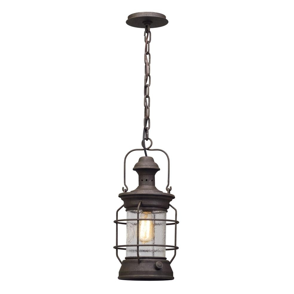 Troy Outdoor Hanging Lights Intended For Famous Troy Lighting Atkins 1 Light Centennial Rust Outdoor Pendant F (View 18 of 20)