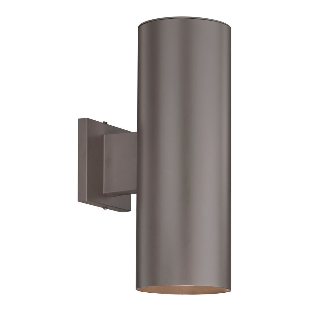 Up / Down Bronze Cylinder Outdoor Wall Light (View 12 of 20)