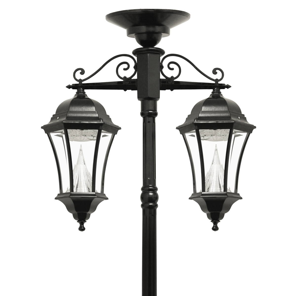 Victorian Solar Lamp Series – Double Downward Hanging Lamp Post Gs Intended For Current Outdoor Hanging Lights At Ebay (View 19 of 20)