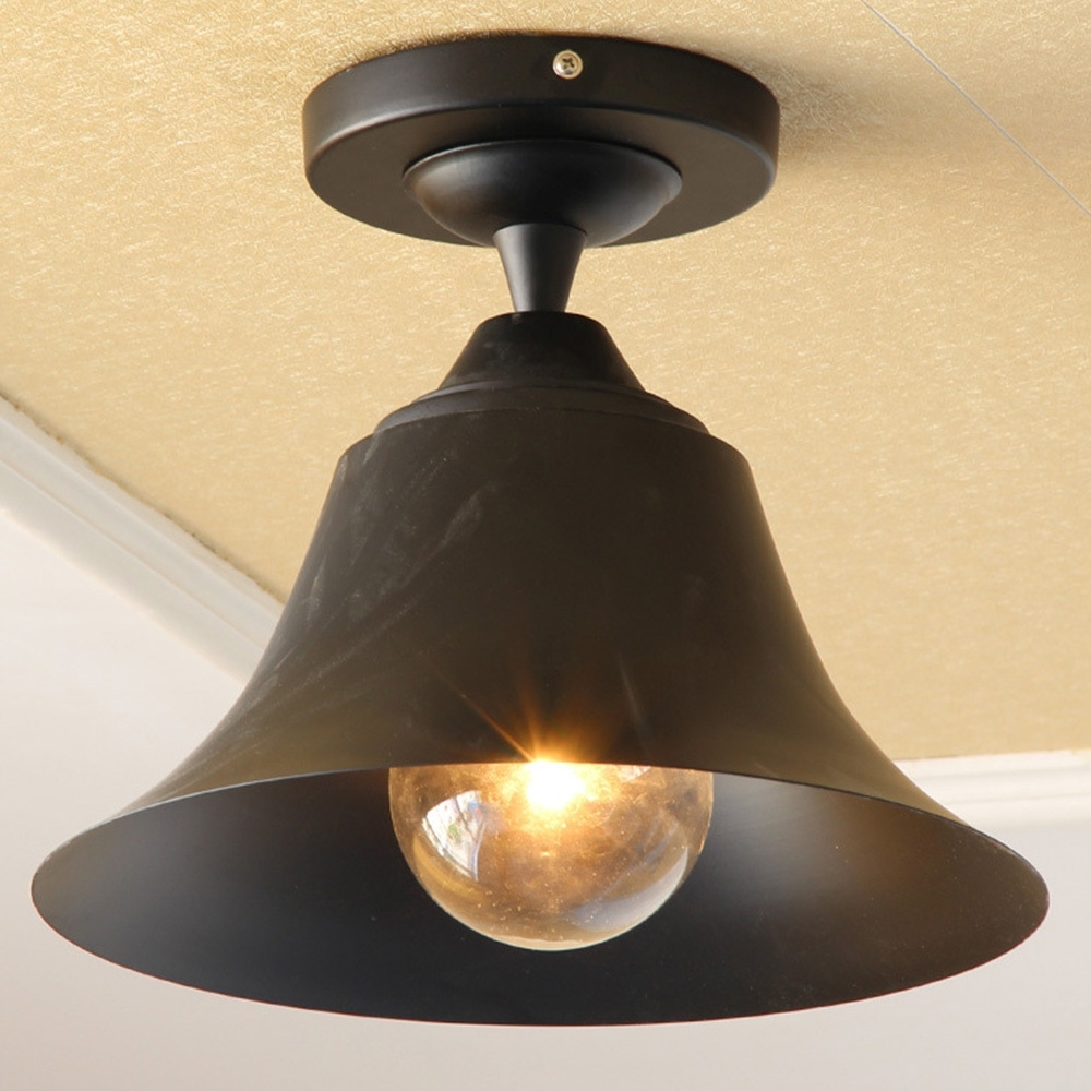 Vintage Outdoor Ceiling Lights Within Most Recent Bell Shape Outdoor Ceiling Lights Vintage Classic Black Indoor (View 18 of 20)