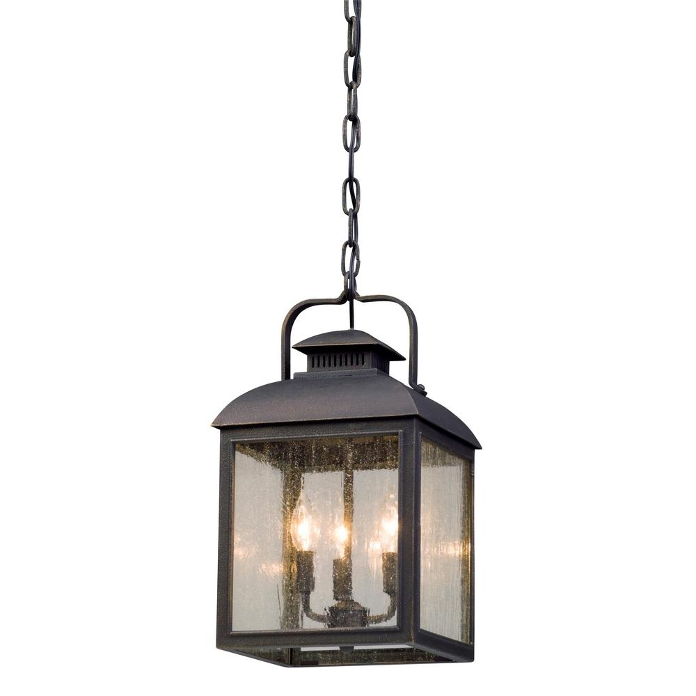 Vintage Outdoor Hanging Lights Inside Widely Used Troy Lighting Chamberlain 3 Light Vintage Bronze Outdoor Pendant (Gallery 2 of 20)