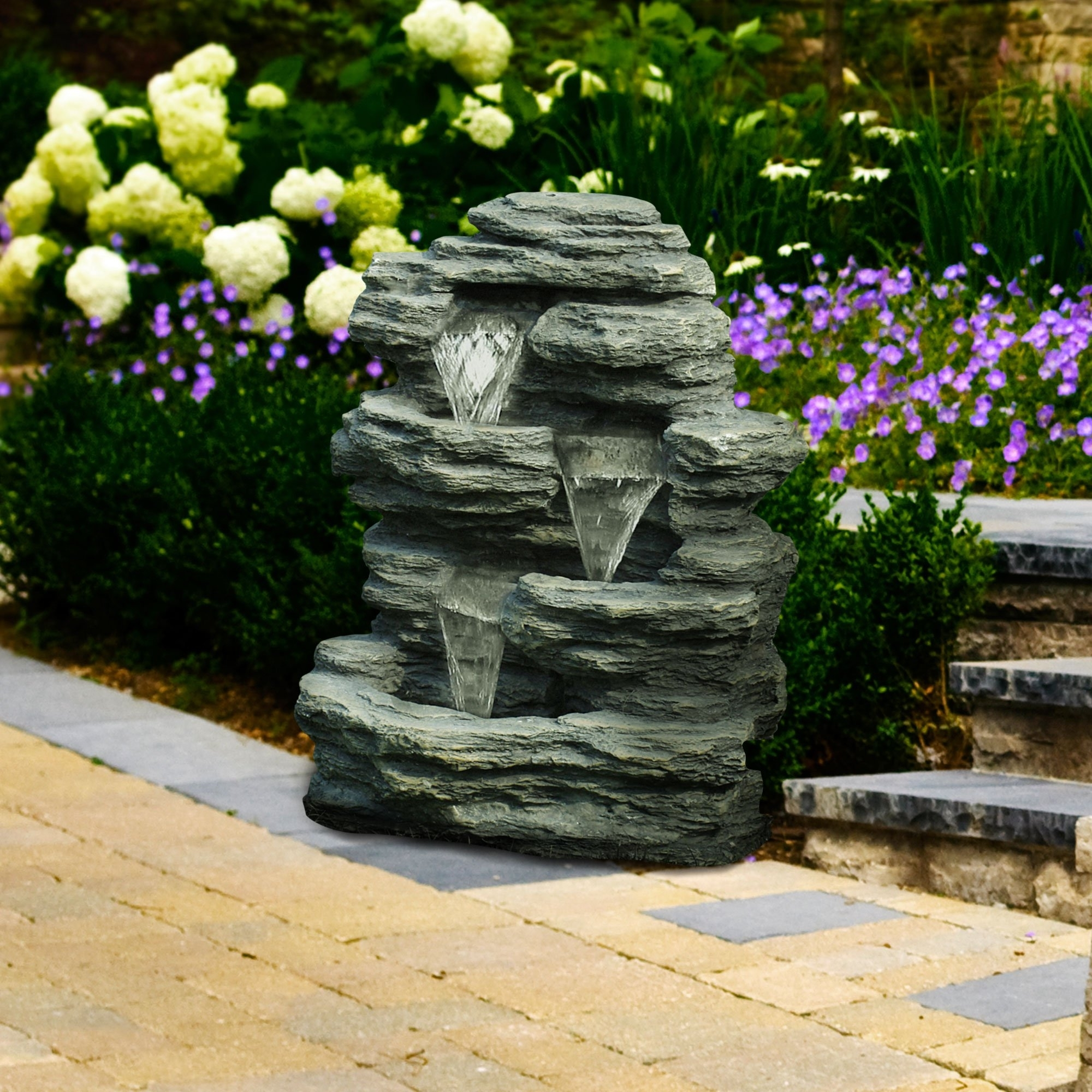 Wayfair Landscape Lighting For Mini Garden With Most Current Pure Garden Cascade Rock Outdoor Fountain (View 18 of 20)