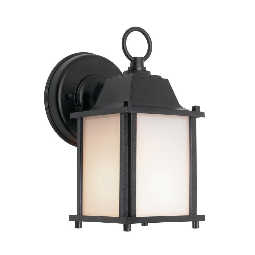 Well Known Battery Operated Outdoor Lights At Home Depot Pertaining To Newport Coastal Square Porch Light Black With Bulb 7974 01b – The (View 6 of 20)