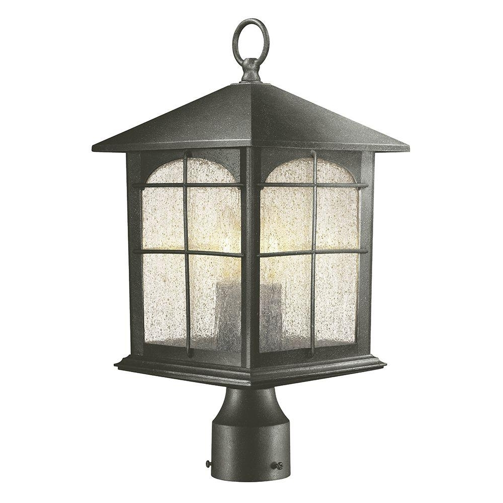 Well Known Garden Porch Light Fixtures At Home Depot For Home Decorators Collection Brimfield 3 Light Outdoor Aged Iron Post (View 5 of 20)