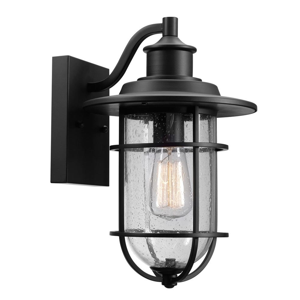 Well Known Globe Outdoor Wall Lighting Regarding Globe Electric Turner 1 Light Black And Seeded Glass Outdoor Wall (View 18 of 20)