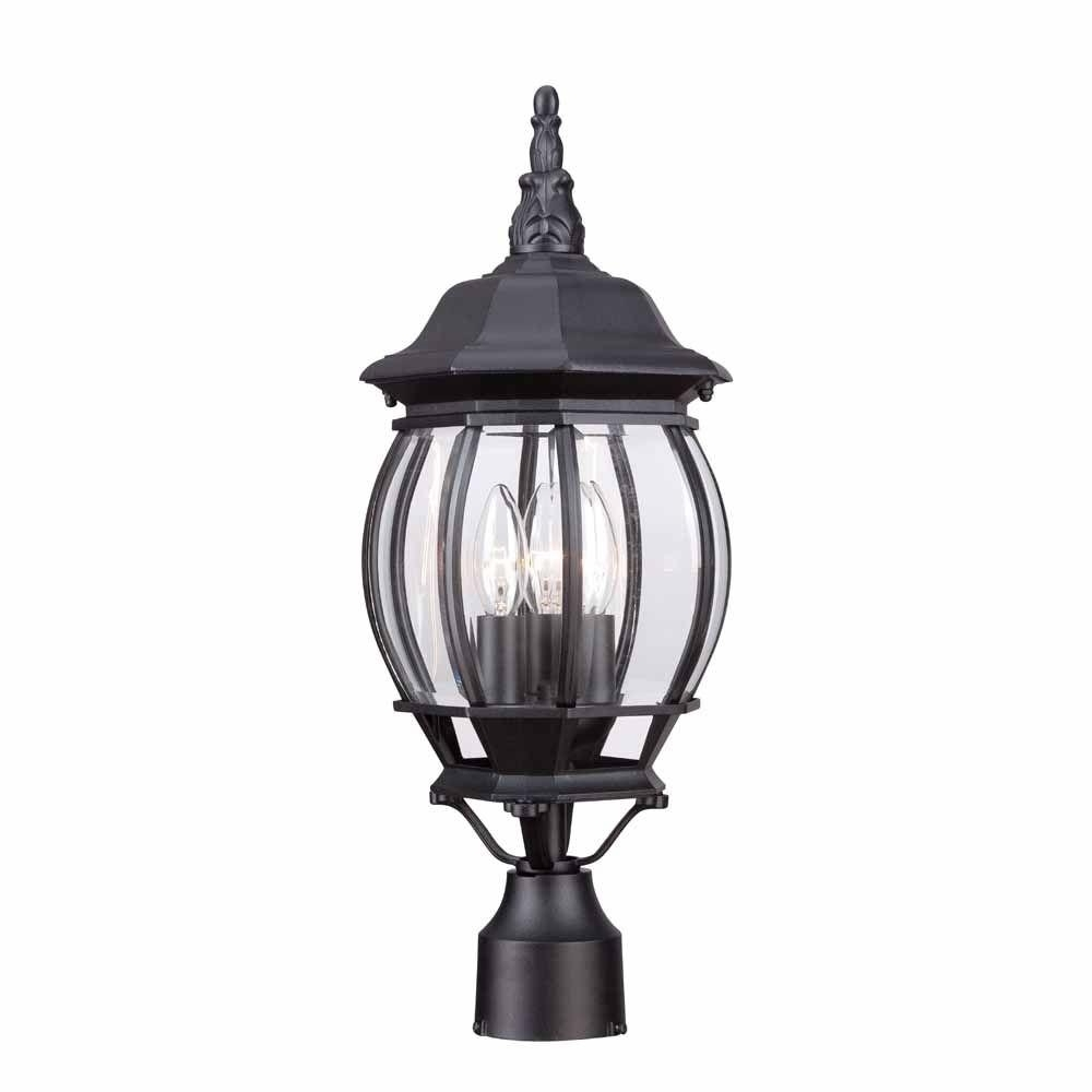 Well Known Hampton Bay Outdoor Lighting At Home Depot Inside Hampton Bay 3 Light Black Outdoor Lamp Hb7029 05 – The Home Depot (View 9 of 20)