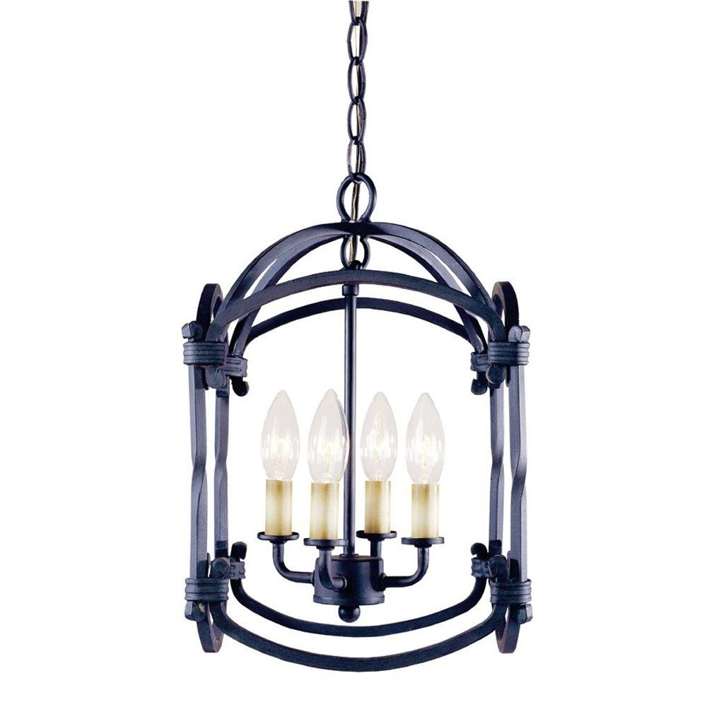 Well Known Hanging Outdoor Entrance Lights With World Imports Hastings Collection 4 Light Indoor Rust Hanging (View 7 of 20)