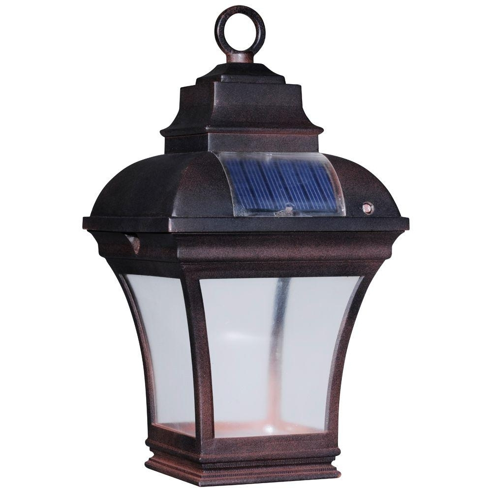 Well Known Hanging Outdoor Sensor Lights Within Newport Coastal Altina Outdoor Solar Led Hanging Lantern 7786 04bz (View 15 of 20)