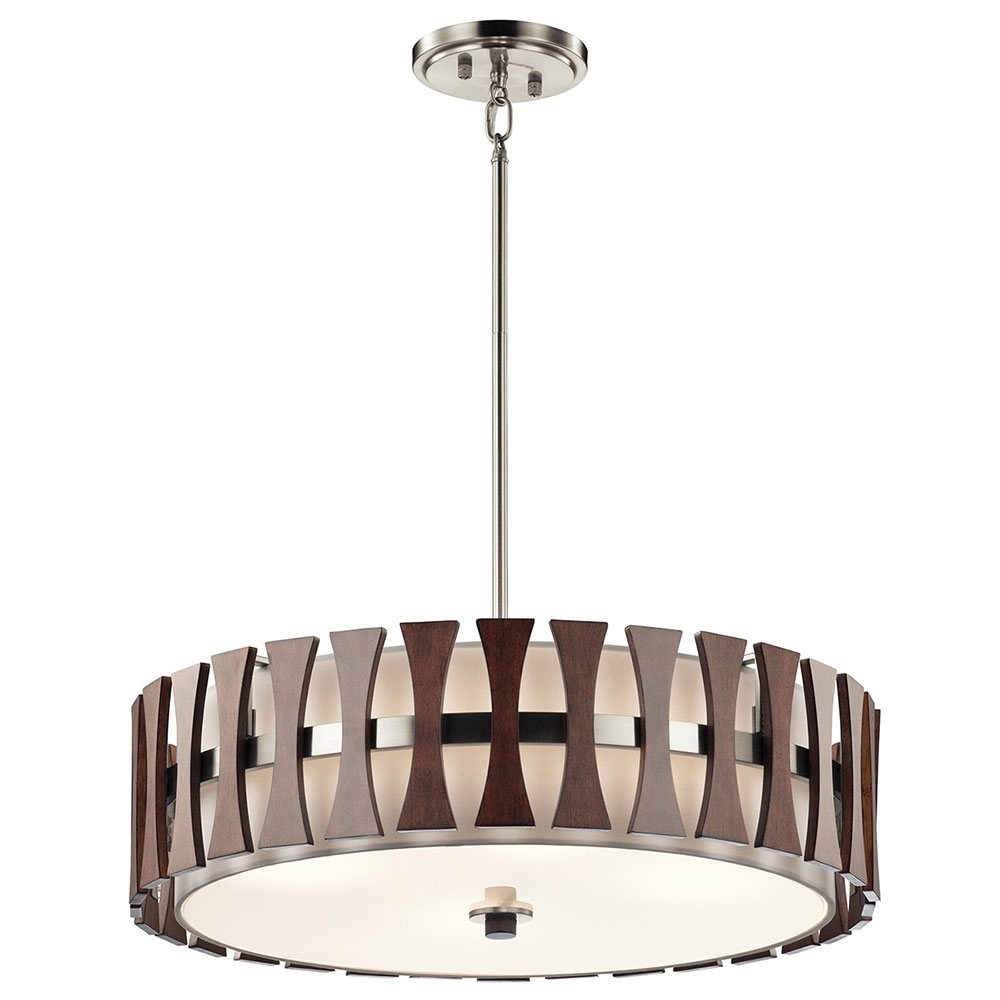 Well Known Kichler 43753aub Cirus Modern Auburn Stained Drum Pendant Lighting In Modern Pendant Lighting Fixtures (View 6 of 20)