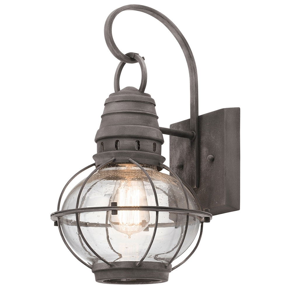 Well Known Kichler Outdoor Lighting Wall Sconces Throughout Kichler 49628wzc Bridge Point Nautical Weathered Zinc Outdoor Medium (View 14 of 20)