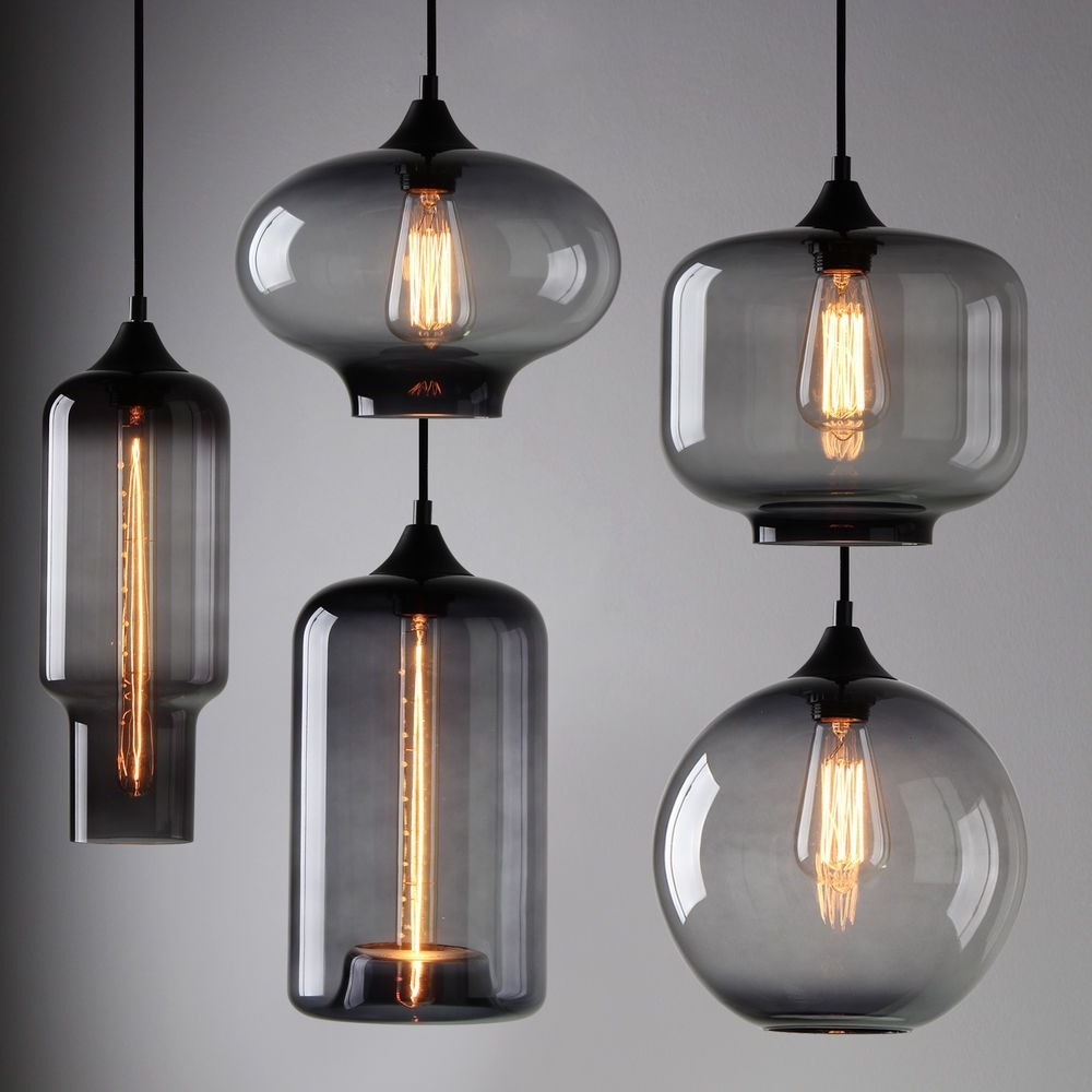 Well Known Modern Industrial Smoky Grey Glass Shade Loft Cafe Pendant Light Regarding Outdoor Ceiling Lights At Ebay (View 18 of 20)