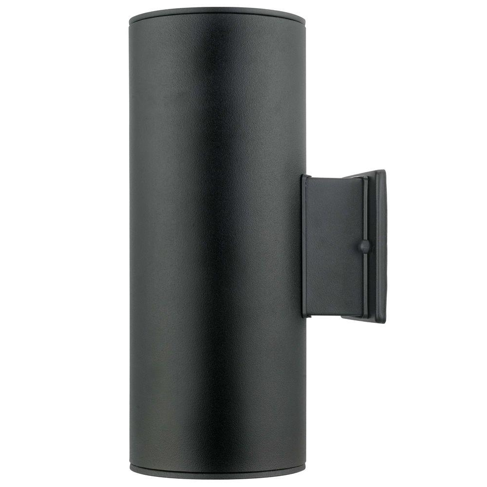 Well Known Modern Outdoor Light Fixtures At Home Depot Throughout Ascoli 2 Light Black Outdoor Wall Mount Light 200147a – The Home Depot (View 4 of 20)