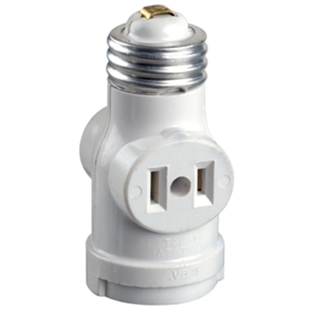 Well Known Outdoor Ceiling Light With Electrical Outlet Within Leviton Socket With Outlets, White R52 01403 00w – The Home Depot (View 20 of 20)
