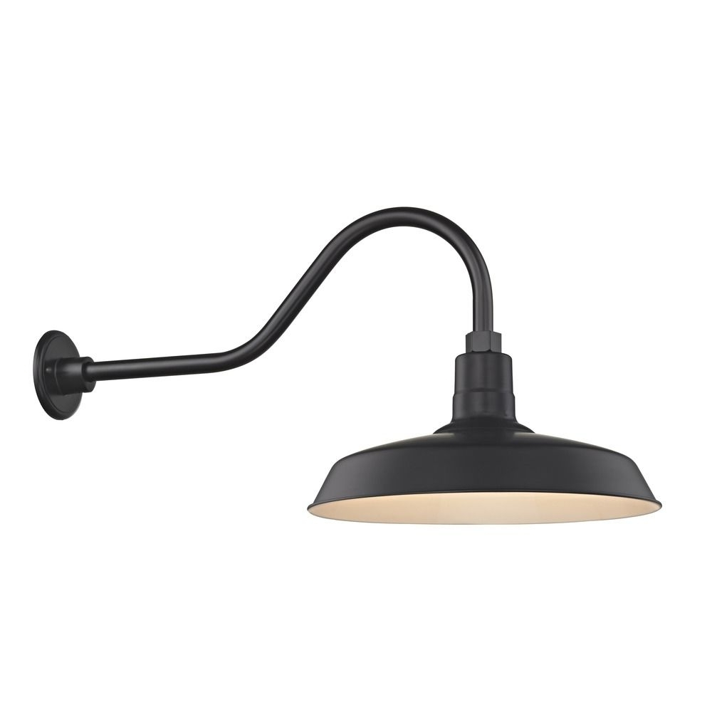 "Well Known Outdoor Gooseneck Wall Lighting Intended For Barn Light Outdoor Wall Light Black With Gooseneck Arm 16"" Shade (View 17 of 20)"