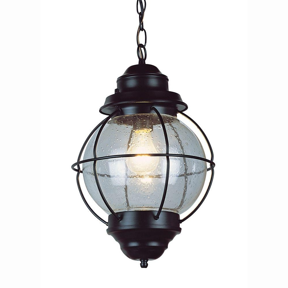 Well Known Outdoor Hanging Glass Lights Intended For Bel Air Lighting Lighthouse 1 Light Outdoor Hanging Black Lantern (View 18 of 20)