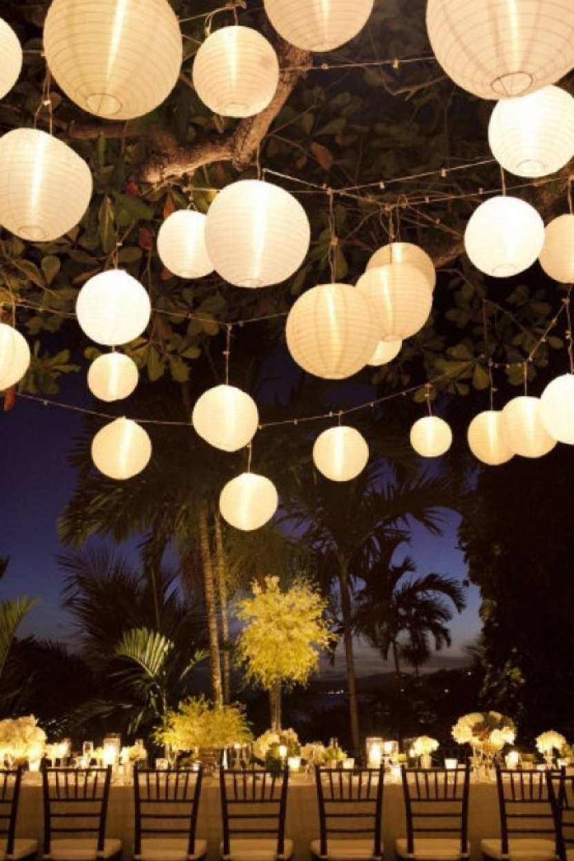 Well Known Outdoor Hanging Nylon Lanterns Throughout Furniture : Pure Garden Outdoor Solar Led White Chinese Lanterns Set (View 9 of 20)