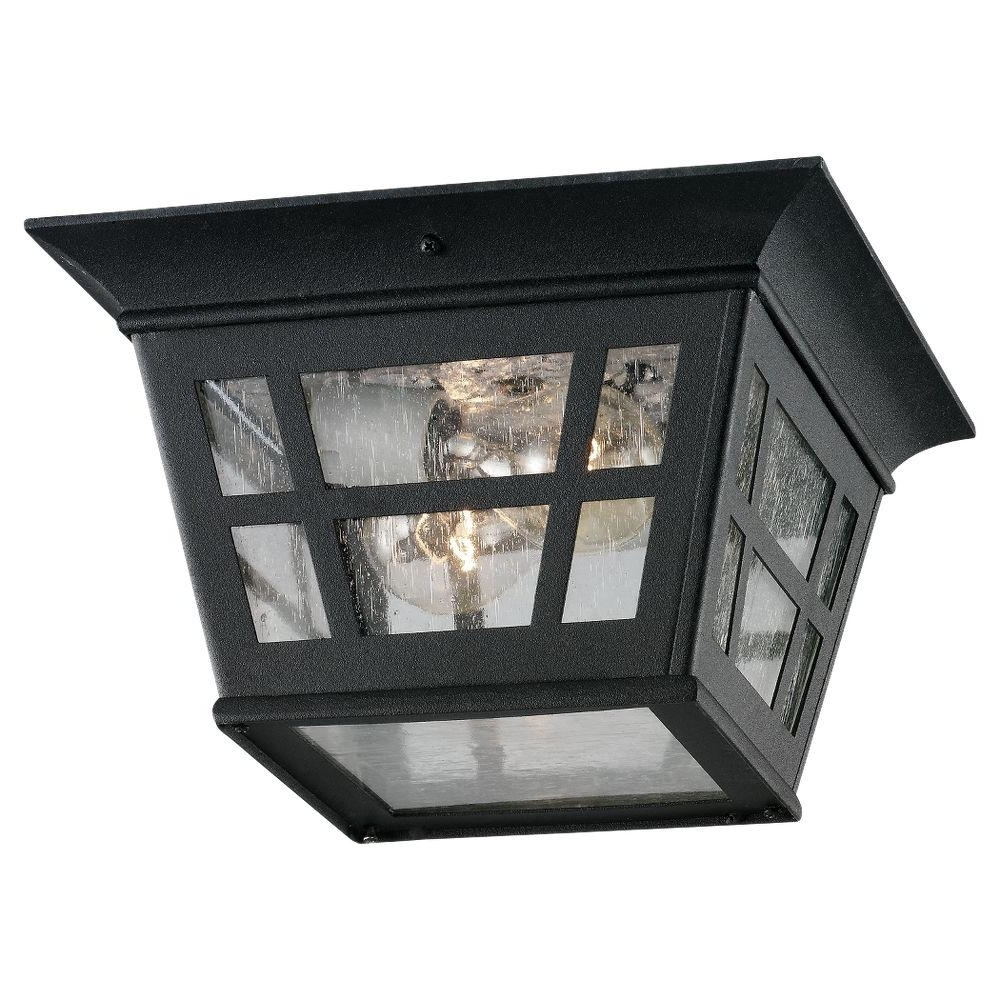 Well Known Outdoor Porch Ceiling Lights Throughout Sea Gull Lighting Herrington 2 Light Outdoor Black Hanging/ceiling (View 14 of 20)