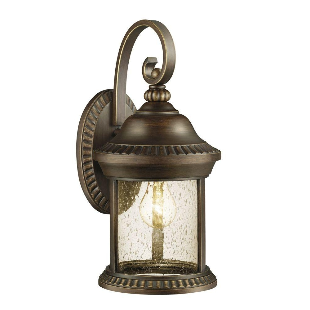 Well Known Outdoor Wall Lighting At Home Depot Within Hampton Bay Cambridge Collection 1 Light Essex Bronze Outdoor Wall (View 11 of 20)