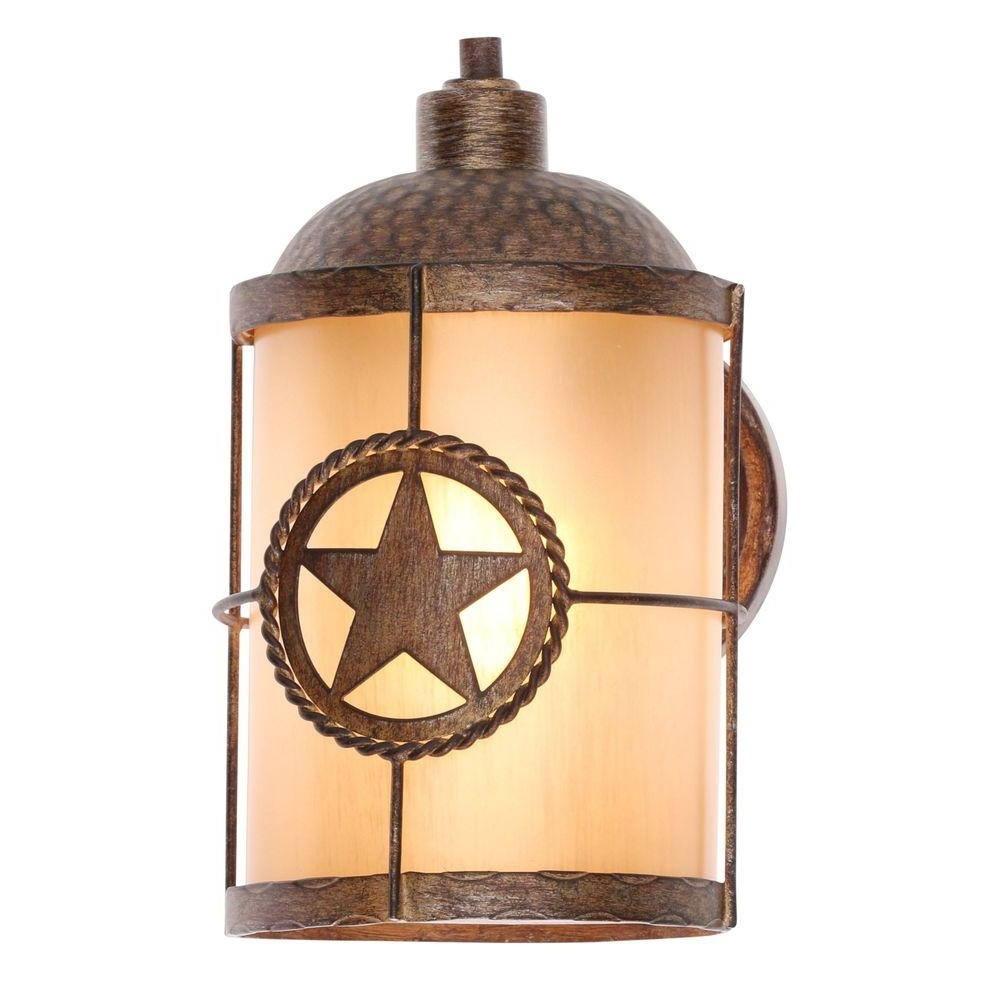 Well Known Rustic Outdoor Wall Lighting Intended For Hampton Bay Lone Star 1 Light Desert Sands Outdoor Wall Mount (View 19 of 20)