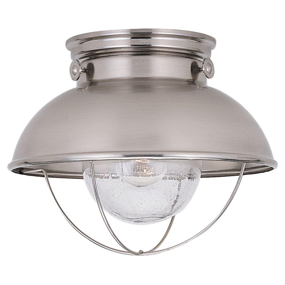 Well Known Sea Gull Lighting Sebring 1 Light Brushed Stainless Outdoor Ceiling With Regard To Stainless Steel Outdoor Ceiling Lights (View 17 of 20)