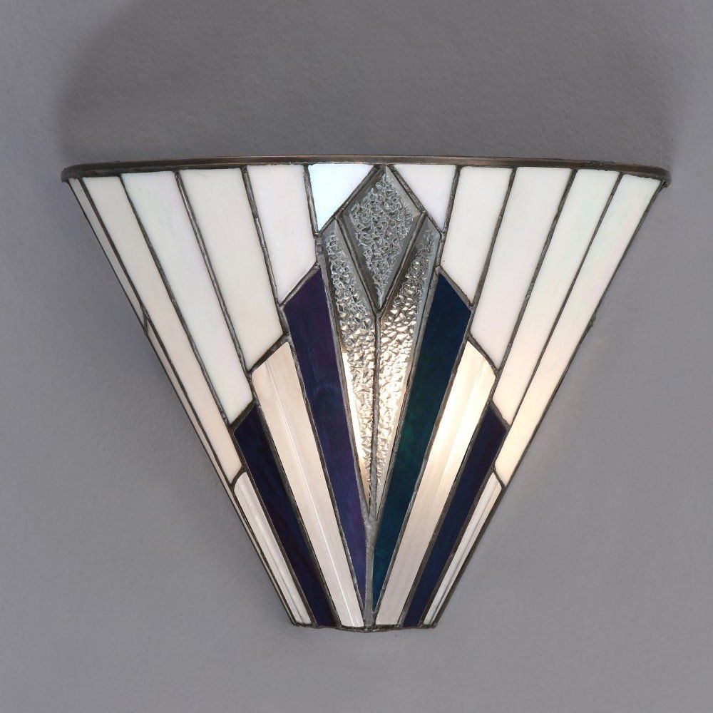 Well Known Tiffany Art Deco Wall Light With White, Blue, Purple And Clear Glass Regarding Art Deco Outdoor Wall Lights (View 5 of 20)